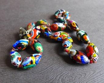 Vintage italien Millefiori mosaïque Collier perles de verre, Murano Glass bead Necklace, des années 1950 - 1960 s verre de 18 pouces Art collier de perles