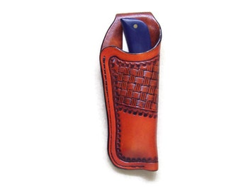 Buck 110 / Sod Buster Custom Leather Knife Sheath with stitched belt loop