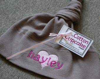 Organic Cotton Baby Hat - Personalized with Pink Embroidery - American Apparel