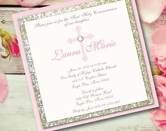 Communion Invitation Girl Communion Glitter Invitation Gold Glitter Pink