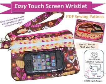 Instant Download PDF Sewing Pattern: Easy Touch Screen Wristlet -Use your phone or eReader without taking it out
