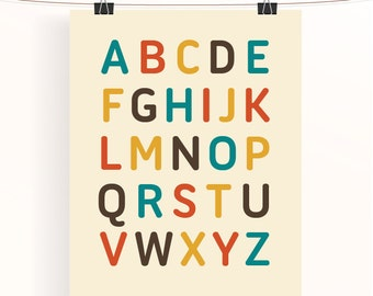 Alphabet print nursery decor, alphabet nursery print, kids room decor, kids wall art,  ABC nursery wall art, alphabet letters,