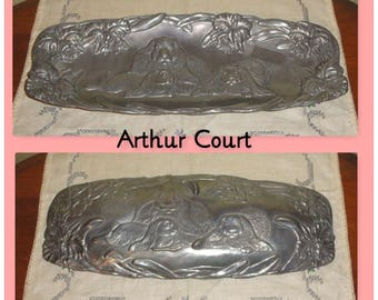 1994 ARTHUR COURT Floral Flowers & Rabbits Bunnies Detailed Metal Serving Platter Tray