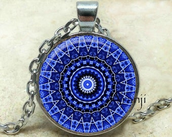 Blue mandala necklace, blue kaleidoscope pendant, mandala necklace, kaleidoscope jewelry, blue mandala pendant, kaleidoscope Pendant#PA163P