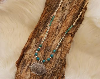 Boho long beaded necklace with cream and turquoise beads