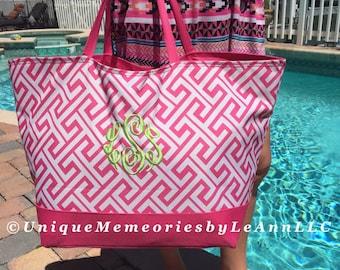 "25"" Personalized Greek Key Weekender/ Beach Bag zippered closure FREE Name/Monogram 5 colors - Brides, Bridesmaids, Graduation, Birthday"