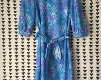Vintage 1980's, shift dress, blue dress, printed dress, Size 12, size L vintage dress