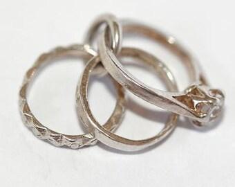Vintage 3 Mini Rings Sterling Silver Bracelet Charm / Crystal Set (1.2g)