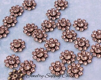 Lt Peach Swarovski Crystal Flower Setting (x6+)