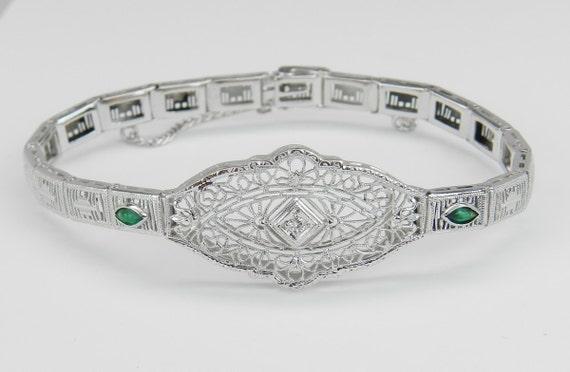 Antique Bracelet Art Deco Bracelet Diamond and Green Emerald Filigree Bracelet  14k White Gold 1920's