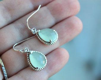 Silver Soft Mint Earrings Seafoam Green Jewelry - Mint Bridesmaid Jewelry Seafoam Bridesmaid Earrings - Mint Blue Wedding Jewelry Earrings