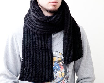 Black Scarf for Him, Handmade Knit Men's Scarf, Extra Long Scarf for Men, Boyfriend Gift, Best Gift for Husband, Fathers Day Gifts