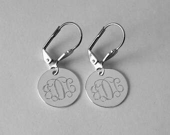 Monogram Earrings Custom Engraved Silver Plated Round Lever Back Personalized Jewelry - Hand Engraved