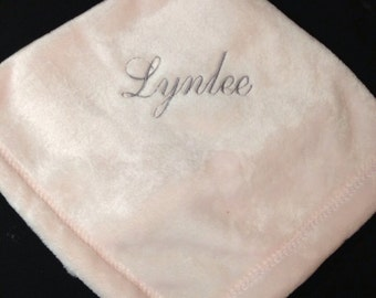 Pink Monogrammed Lovey Security Blanket | Personalized | Embroidered | Blankie | Stroller blanket | Lucy's Pocket
