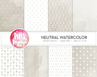 Digital Paper Patterns   Neutral Watercolor   12 x 12 inches