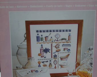 """the """"bathroom"""" cross stitch Embroidery pattern"""