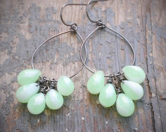 pale green cluster hoop earrings. czech glass drops & oxidized sterling silver.