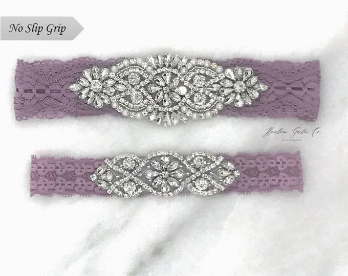 Purple Wedding Garter, NO SLIP Lace Wedding Garter Set, bridal garter set, vintage rhinestones BO1S-CO2S