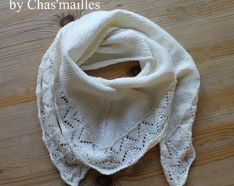 scarf/shawl or mini shawl unbleached cotton and linen (model 3)