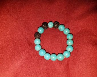 Turquoise and lava bead bracelet