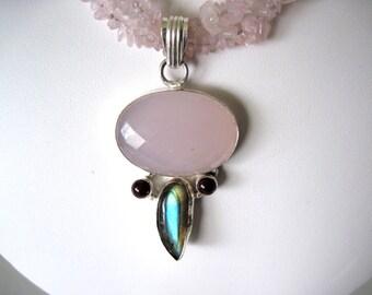 Rose quartz and labradorite  necklace.