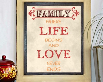 Family, Where Life Begins And Love Never Ends Printable Wall Decor - Quote Print - Wall Art - Decor Poster -  Inspirational