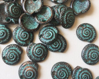 20mm Verdigris Copper Spiral Nautilus shell Charms Set of 6