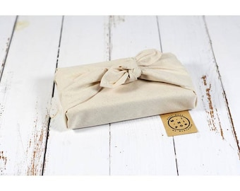 Organic cotton GOTS natural not dyed, wrapping furoshiki zero waste, durable, eco-friendly, reusable, 50 X 50 cm.
