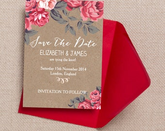 Rustic Kraft with Red and Pink Flowers Wedding Save the Date Cards