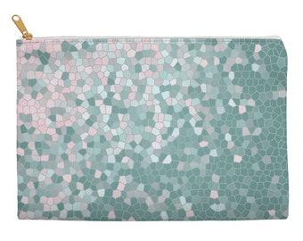 Mint makeup bag, rose quartz pink makeup bag, cosmetic pouch, pencil pouch, pencil case, zippered pouch, large cosmetic bag, makeup case