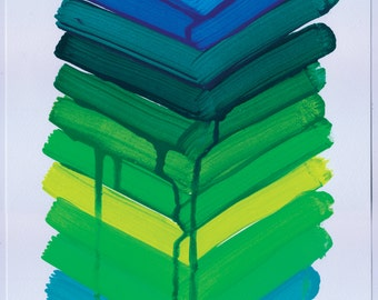 Geometric Abstract Painting, 12x9, Blue, Green & Yellow NY1611