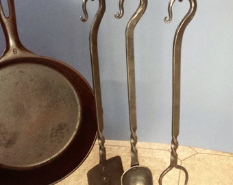 Hearth cooking utensils  Hand forged