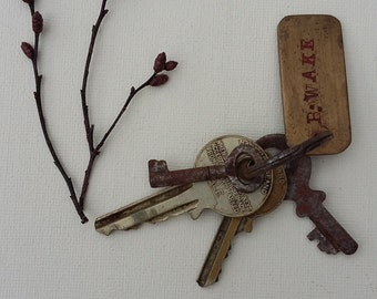 Vintage Rusty Keys on original Keyring Mid Centruy Keys Brass Name Tag
