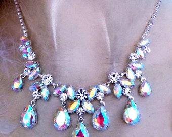 Rhinestone Austrian Crystal Choker Necklace Earrings AB Pageant Bridal Prom