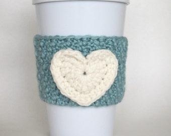 Crochet Heart Coffee Cup Cozy Seafoam Green and Cream