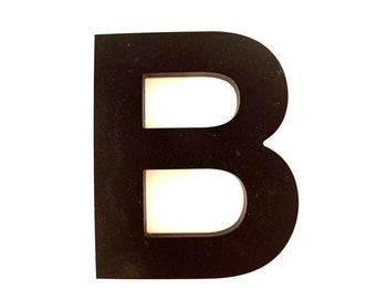 """Vintage Industrial Letter """"B"""" 3D Sign Letter in Black Heavy Plastic (5"""" tall) - Industrial Home Decor, Typography Letter, Altered Art"""