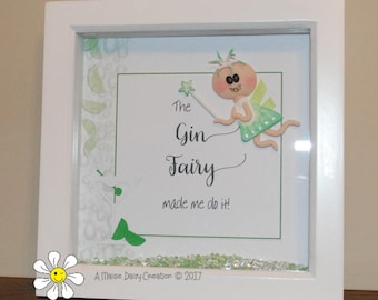 The Gin Fairy - Birthday Gift - Shadow Box Picture Frame