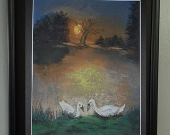 "8x10 Original Pastel Painting, Swans at Water's Edge Artwork, ""Swans at Dusk"""