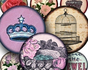 Natures Royalty Digital Collage Sheet in 1.5 Inch Circles Vintage Birds Flowers Crowns for Pedants Jewelry Cards Crafts and More piddix 747
