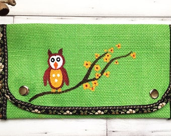 Owl Purse - Green Burlap Purse - Hand Painted Purse - Fabric Wallet - Slim Ladies Wallet - Wallets for Women - Mom Gifts - Womens Gift Ideas