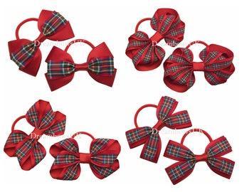Royal Stewart tartan ribbon hair bows on thick bobbles, Royal Stewart tartan hair accessories, girls tartan bows, tartan ribbon hair bows