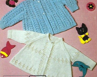 PDF Instant Digital Download baby diamond & cable patterned coat knitting pattern (610)