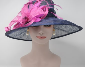 Kentucky Derby Hat, Church Hat, Wedding Hat, Easter Hat, Tea Party Hat Wide Brim Woman's Sinamay Hat (Navy Blue with Hot Pink)