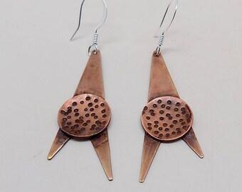 Steampunk mixed metal jewelry brass earrings