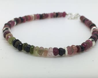Pink Tourmaline - Tourmaline bracelet with Sterling Silver