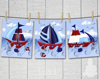Set of 3 ART PRINTS Red and Navy Sailing Sail Nautical Ship Anchor Boat Boys Bedroom Bathroom Wall Art Decor Artwork Wall Art Prints