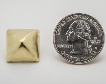 50 Large Solid Brass Pyramid Studs for Punk Vintage Style Clothing and More - StudsAndSpikes Denim and LeatherCraft