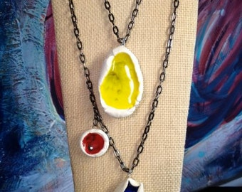 Yellow Red & Blue Melted Glass Pendant Necklace