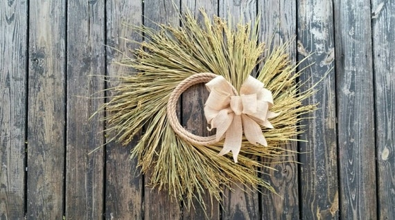 Wreath -  Dried Grass Wreath  - Rice Wreath