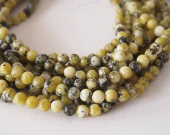 Strand Gemstone Yellow Turquoise Beads Size 6mm Quantity 62 Beads